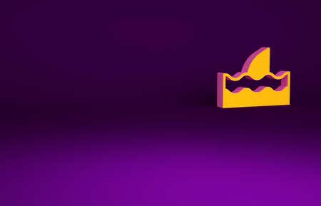 Orange Shark fin in ocean wave icon isolated on purple background. Minimalism concept. 3d illustration 3D render
