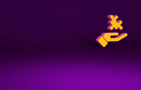 Orange Solution to the problem in psychology icon isolated on purple background. Puzzle. Therapy for mental health. Minimalism concept. 3d illustration 3D render
