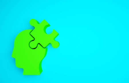 Green Solution to the problem in psychology icon isolated on blue background. Puzzle. Therapy for mental health. Minimalism concept. 3d illustration 3D render