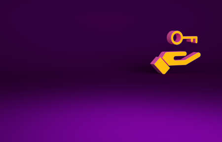 Orange Solution to the problem in psychology icon isolated on purple background. Key. Therapy for mental health. Minimalism concept. 3d illustration 3D render