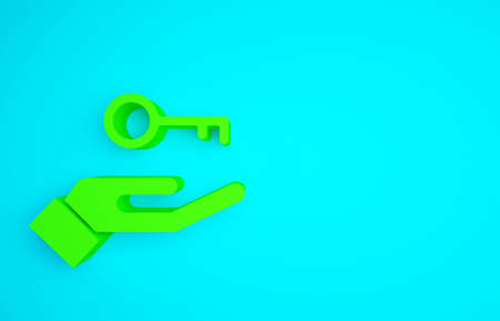 Green Solution to the problem in psychology icon isolated on blue background. Key. Therapy for mental health. Minimalism concept. 3d illustration 3D render 免版税图像