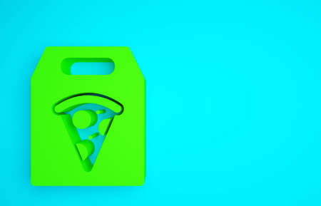 Green Online ordering and fast pizza delivery icon isolated on blue background. Minimalism concept. 3d illustration 3D render