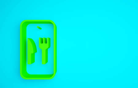 Green Online ordering and fast food delivery icon isolated on blue background. Burger sign. Minimalism concept. 3d illustration 3D render Banco de Imagens