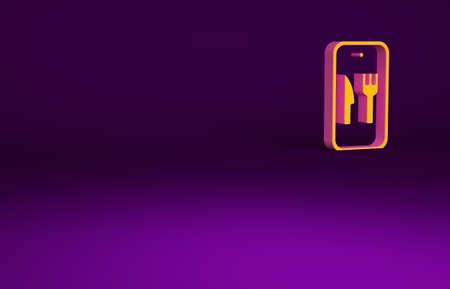 Orange Online ordering and fast food delivery icon isolated on purple background. Burger sign. Minimalism concept. 3d illustration 3D render Banco de Imagens
