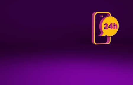 Orange Food ordering icon isolated on purple background. Order by mobile phone. Restaurant food delivery concept. Minimalism concept. 3d illustration 3D render Banco de Imagens