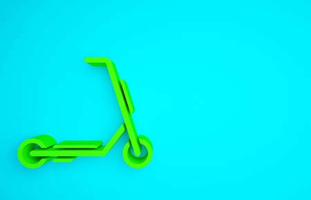 Green Scooter delivery icon isolated on blue background. Delivery service concept. Minimalism concept. 3d illustration 3D render