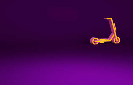 Orange Scooter delivery icon isolated on purple background. Delivery service concept. Minimalism concept. 3d illustration 3D render