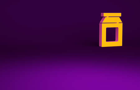 Orange Online ordering and fast food delivery icon isolated on purple background. Minimalism concept. 3d illustration 3D render