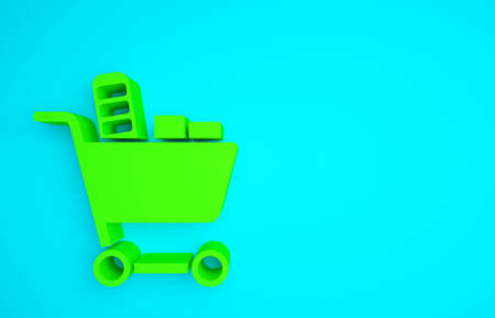 Green Shopping cart and food icon isolated on blue background. Food store, supermarket. Minimalism concept. 3d illustration 3D render