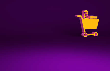 Orange Shopping cart and food icon isolated on purple background. Food store, supermarket. Minimalism concept. 3d illustration 3D render