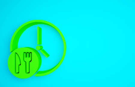 Green Round the clock delivery icon isolated on blue background. Minimalism concept. 3d illustration 3D render Banco de Imagens