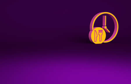 Orange Round the clock delivery icon isolated on purple background. Minimalism concept. 3d illustration 3D render Banco de Imagens