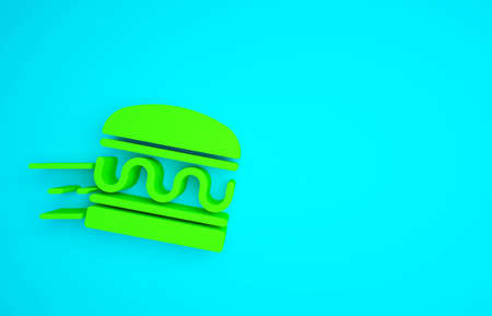 Green Online ordering and burger delivery icon isolated on blue background. Minimalism concept. 3d illustration 3D render