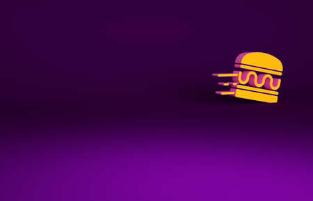 Orange Online ordering and burger delivery icon isolated on purple background. Minimalism concept. 3d illustration 3D render