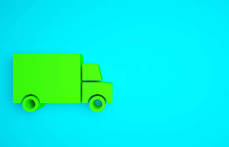 Green Fast round the clock delivery by car icon isolated on blue background. Minimalism concept. 3d illustration 3D render