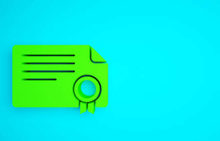 Green Certificate template icon isolated on blue background. Achievement, award, degree, grant, diploma concepts. Minimalism concept. 3d illustration 3D render
