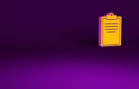Orange Clipboard with checklist icon isolated on purple background. Control list symbol. Survey poll or questionnaire feedback form. Minimalism concept. 3d illustration 3D render