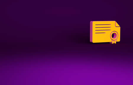 Orange Certificate template icon isolated on purple background. Achievement, award, degree, grant, diploma concepts. Minimalism concept. 3d illustration 3D render