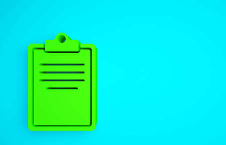 Green Clipboard with checklist icon isolated on blue background. Control list symbol. Survey poll or questionnaire feedback form. Minimalism concept. 3d illustration 3D render Banco de Imagens