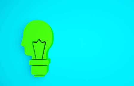 Green Light bulb with concept of idea icon isolated on blue background. Energy and idea symbol. Inspiration concept. Minimalism concept. 3d illustration 3D render 免版税图像