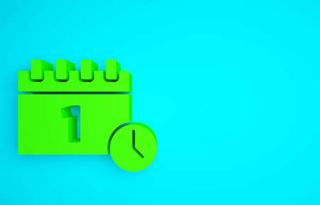 Green Calendar with first september date icon isolated on blue background. September 1. Date and time, day, month. Holiday. Minimalism concept. 3d illustration 3D render Banco de Imagens