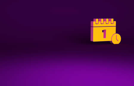 Orange Calendar with first september date icon isolated on purple background. September 1. Date and time, day, month. Holiday. Minimalism concept. 3d illustration 3D render