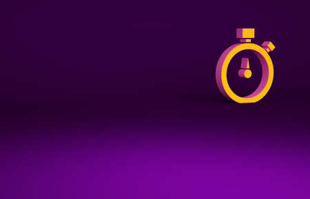 Orange Stopwatch icon isolated on purple background. Time timer sign. Chronometer sign. Minimalism concept. 3d illustration 3D render