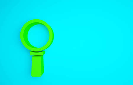 Green Magnifying glass icon isolated on blue background. Search, focus, zoom, business symbol. Minimalism concept. 3d illustration 3D render. Banco de Imagens