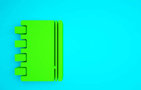 Green Notebook icon isolated on blue background. Spiral notepad icon. School notebook. Writing pad. Diary for school. Minimalism concept. 3d illustration 3D render