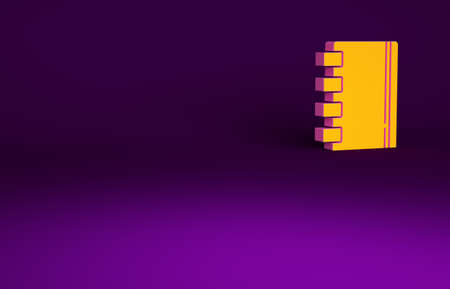 Orange Notebook icon isolated on purple background. Spiral notepad icon. School notebook. Writing pad. Diary for school. Minimalism concept. 3d illustration 3D render Banco de Imagens