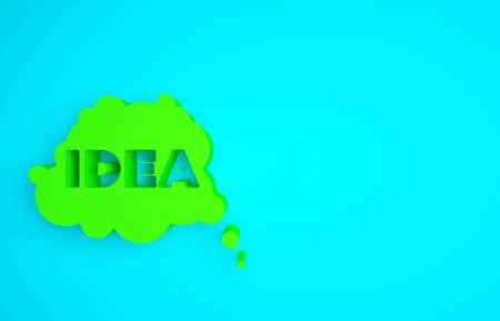 Green Idea, speech bubble icon isolated on blue background. Message speech bubble idea with cloud talk. Minimalism concept. 3d illustration 3D render Banco de Imagens