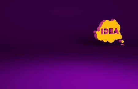 Orange Idea, speech bubble icon isolated on purple background. Message speech bubble idea with cloud talk. Minimalism concept. 3d illustration 3D render