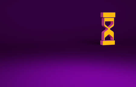 Orange Old hourglass with flowing sand icon isolated on purple background. Sand clock sign. Business and time management concept. Minimalism concept. 3d illustration 3D render