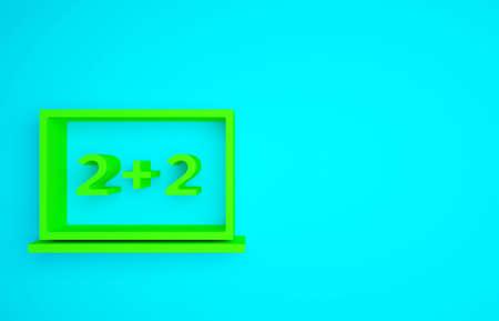 Green Chalkboard icon isolated on blue background. School Blackboard sign. Minimalism concept. 3d illustration 3D render