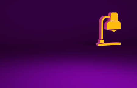 Orange Table lamp icon isolated on purple background. Minimalism concept. 3d illustration 3D render