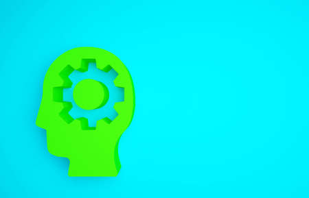 Green Human head with gear inside icon isolated on blue background. Artificial intelligence. Thinking brain. Symbol work of brain. Minimalism concept. 3d illustration 3D render