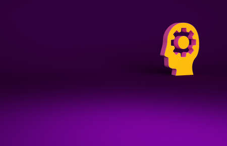 Orange Human head with gear inside icon isolated on purple background. Artificial intelligence. Thinking brain. Symbol work of brain. Minimalism concept. 3d illustration 3D render