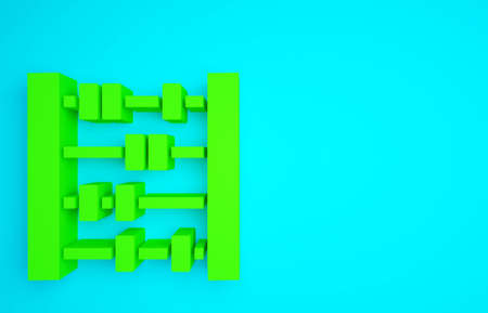 Green Abacus icon isolated on blue background. Traditional counting frame. Education sign. Mathematics school. Minimalism concept. 3d illustration 3D render Banco de Imagens