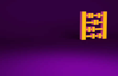 Orange Abacus icon isolated on purple background. Traditional counting frame. Education sign. Mathematics school. Minimalism concept. 3d illustration 3D render Banco de Imagens