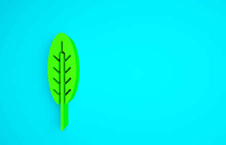 Green Indian feather icon isolated on blue background. Native american ethnic symbol feather. Minimalism concept. 3d illustration 3D render