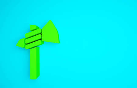 Green Native american tomahawk axe icon isolated on blue background. Minimalism concept. 3d illustration 3D render Banco de Imagens