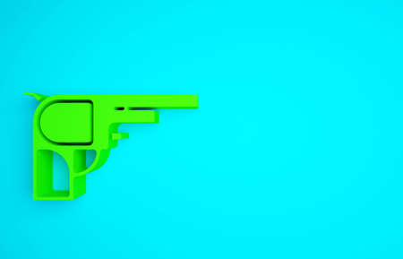 Green Revolver gun icon isolated on blue background. Minimalism concept. 3d illustration 3D render Banco de Imagens