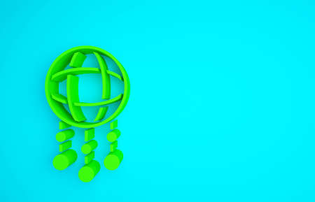 Green Dream catcher with feathers icon isolated on blue background. Minimalism concept. 3d illustration 3D render