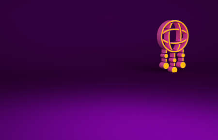 Orange Dream catcher with feathers icon isolated on purple background. Minimalism concept. 3d illustration 3D render