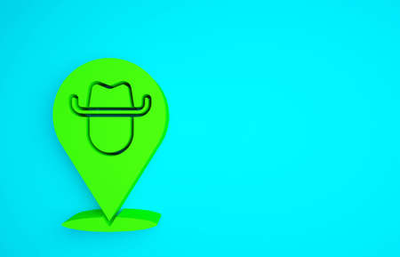 Green Location cowboy icon isolated on blue background. Minimalism concept. 3d illustration 3D render