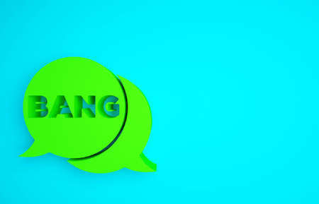 Green Bang boom, gun Comic text speech bubble balloon icon isolated on blue background. Minimalism concept. 3d illustration 3D render