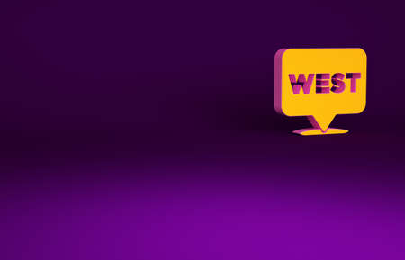 Orange Pointer to wild west icon isolated on purple background. Western signboard, message board, signpost for finding way with direction. Minimalism concept. 3d illustration 3D render