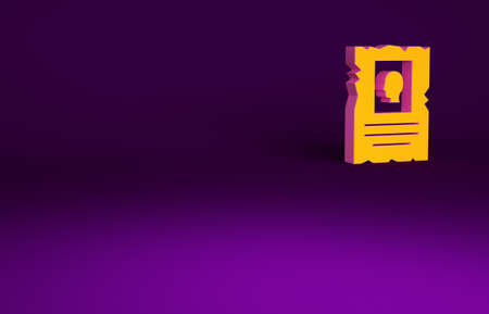 Orange Wanted western poster icon isolated on purple background. Reward money. Dead or alive crime outlaw. Minimalism concept. 3d illustration 3D render