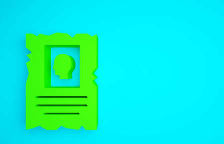 Green Wanted western poster icon isolated on blue background. Reward money. Dead or alive crime outlaw. Minimalism concept. 3d illustration 3D render