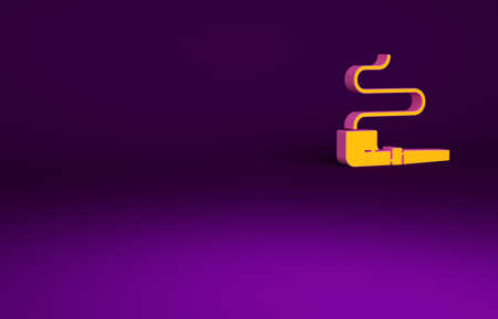 Orange Native American indian smoking pipe icon isolated on purple background. Minimalism concept. 3d illustration 3D render Banco de Imagens